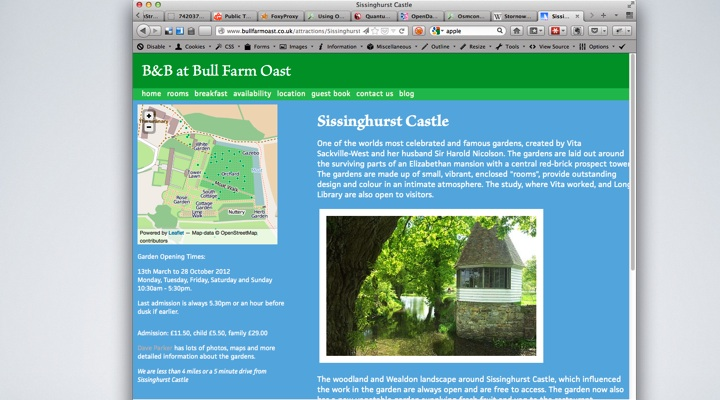 Sissinghurst Castle information page.