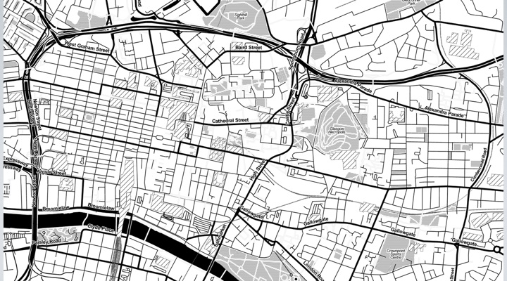 Black and White map of Glasgow Center