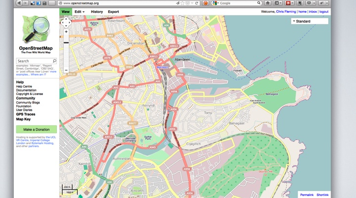 OpenStreetMap - showing Aberdeen