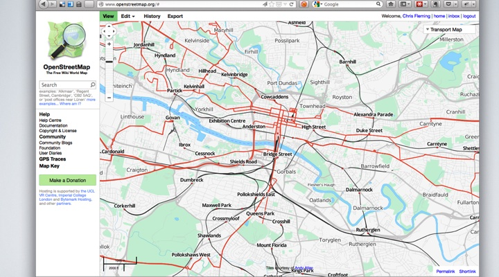 OSM Website, public transport style, centered on Glasgow.