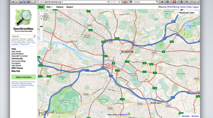 Openstreetmap website, showing mapquest style centered on Glasgow