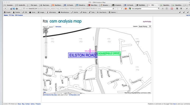 ITO Analysis Map, showing missing new estate road names,