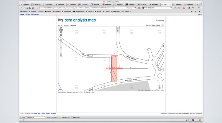 ITO Analysis Map, OSM shows Almond Avenue and OSM shows Almond Drive